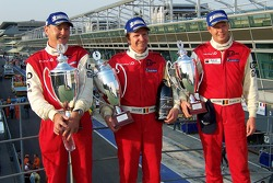 LMP2 podium: class winners Fredy Lienhard, Didier Theys and Eric van de Poele