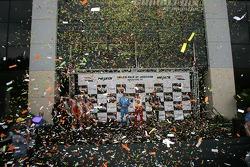 A confetti shower on the podium