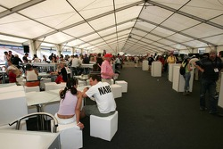Food and Merchandise area on the pit roof