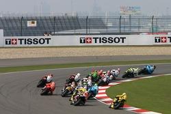 Start: John Hopkins leads Valentino Rossi