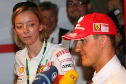 Michael Schumacher, Scuderia Ferrari, Advisor, Press conference, with Sabine Kehm, Michael Schumacher's personal press officer