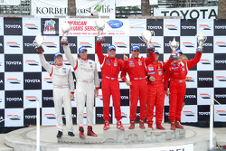 GT2 podium: class winners Mika Salo and Jaime Melo, second place Patrick Long and Darren Law, third place Nic Jonsson and Anthony Lazzaro