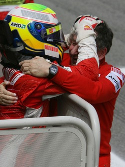 Race winner Felipe Massa celebrates with Jean Todt
