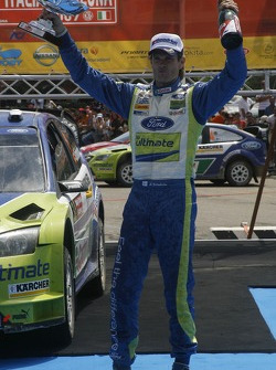 Rally winner Marcus Gronholm celebrates