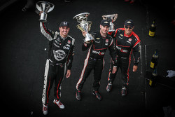 Podium: second place Graham Rahal, Rahal Letterman Lanigan Racing and winner Will Power and third place Juan Pablo Montoya, Team Penske