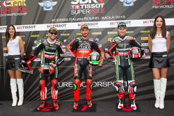 Il Secondo Posto Tom Sykes, Kawasaki, Polesitter Davide Giugliano, Ducati Team, e il terzo posto Jonathan Rea, Kawasaki