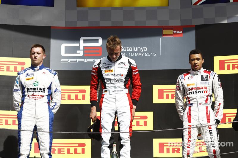 Podium: 2. Jimmy Eriksson, Korainen GP; 1. Marvin Kirchhöfer, ART Grand Prix, und 3. Jann Mardenborough, Carlin