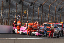 Pippa Mann, Dale Coyne Racing Honda in huge crash