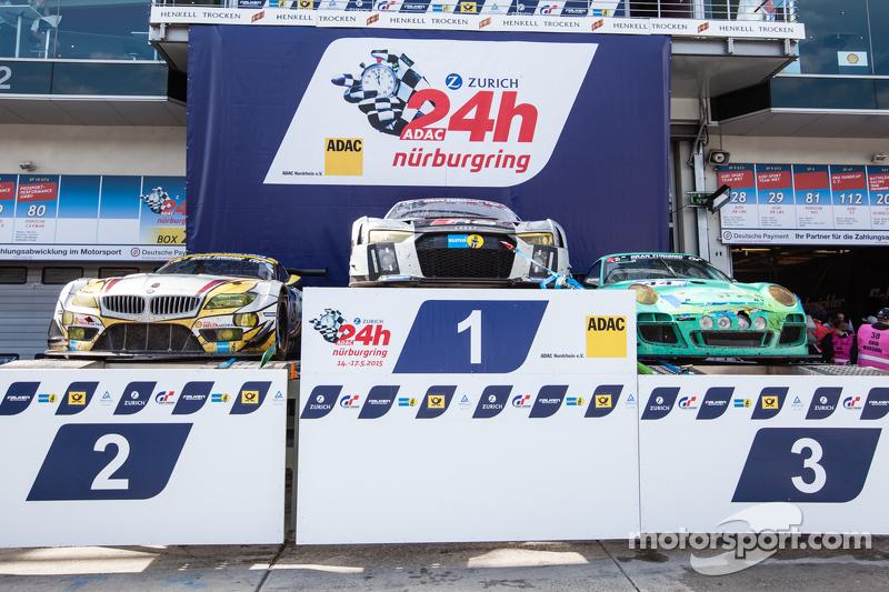 Podium cars: race winner #28 Audi Sport Team WRT Audi R8 LMS, second place #25 Marc VDS Racing BMW Z