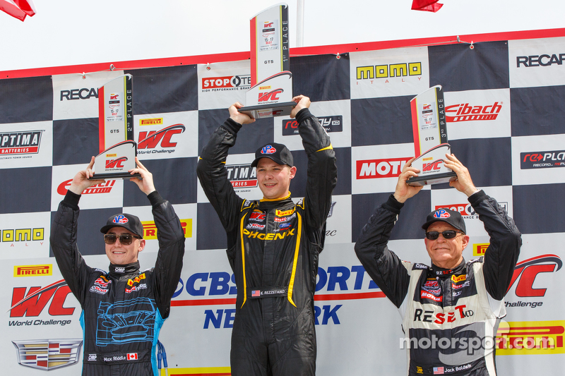 Podium: Race winner Kurt Rezzetano second placed Max Riddle and third placed Jack Baldwin