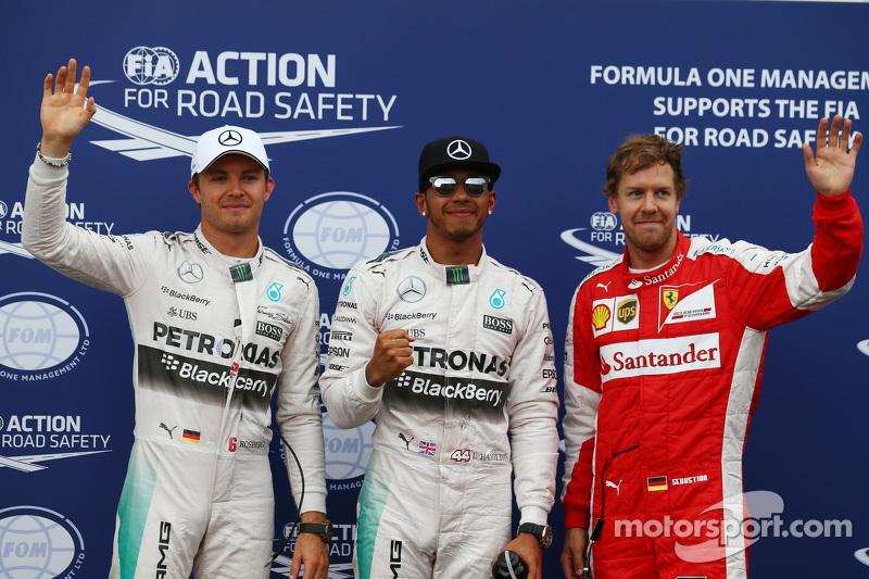 Pole-Position für Lewis Hamilton, Mercedes AMG F1; 2. Nico Rosberg, Mercedes AMG F1 W06, und 3. Sebastian Vettel, Ferrari