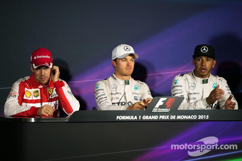The FIA Press Conference,: Sebastian Vettel, Ferrari, second; Nico Rosberg, Mercedes AMG F1, race winner; Lewis Hamilton, Mercedes AMG F1, third