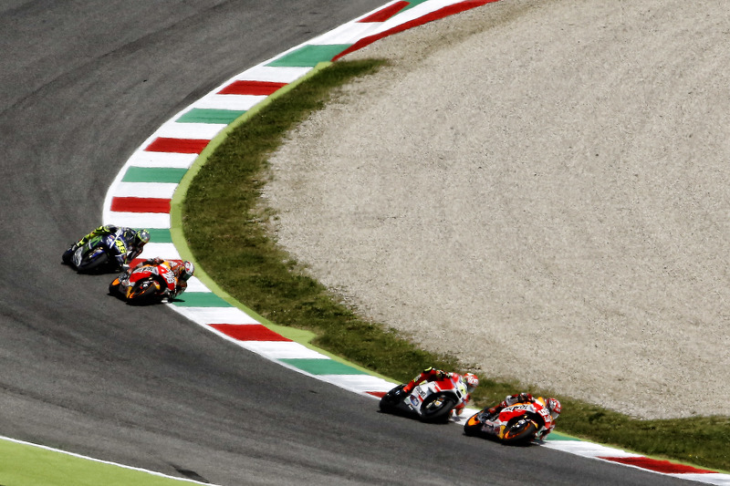 Marc Marquez, Repsol Honda Team; Andrea Iannone, Ducati Team; Dani Pedrosa, Repsol Honda Team, und Valentino Rossi, Yamaha Factory Racing