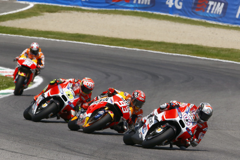 Andrea Dovizioso, Ducati Team; Marc Marquez, Repsol Honda Team; Andrea Iannone, Ducati Team, und Dani Pedrosa, Repsol Honda Team