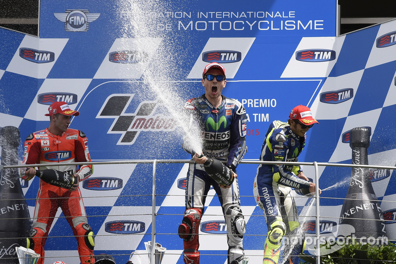 Podium: second place Andrea Iannone, Ducati Team and winner Jorge Lorenzo and third place Valentino Rossi, Yamaha Factory Racing