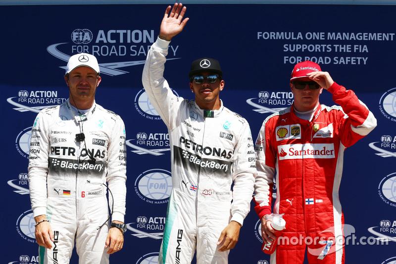 El segundo puesto de Nico Rosberg, de Mercedes F1, ganador de la pole Lewis Hamilton, de Mercedes F1