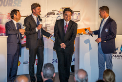 ACO president Pierre Fillon, Yoshiaki Kinoshita, Spirit of Le Mans winner and Grand Marshal Tom Kristensen