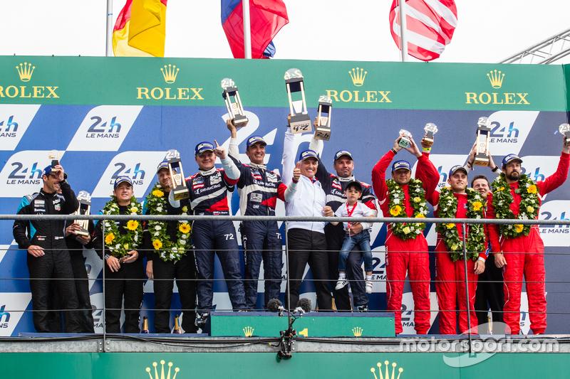 LMGT Am podium: class winners #72 SMP Racing Ferrari 458 GTE: Andrea Bertolini, Viktor Shaitar, Alex