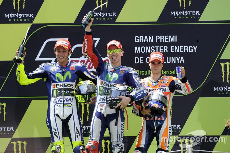 2015: 1. Jorge Lorenzo, 2. Valentino Rossi, 3. Dani Pedrosa