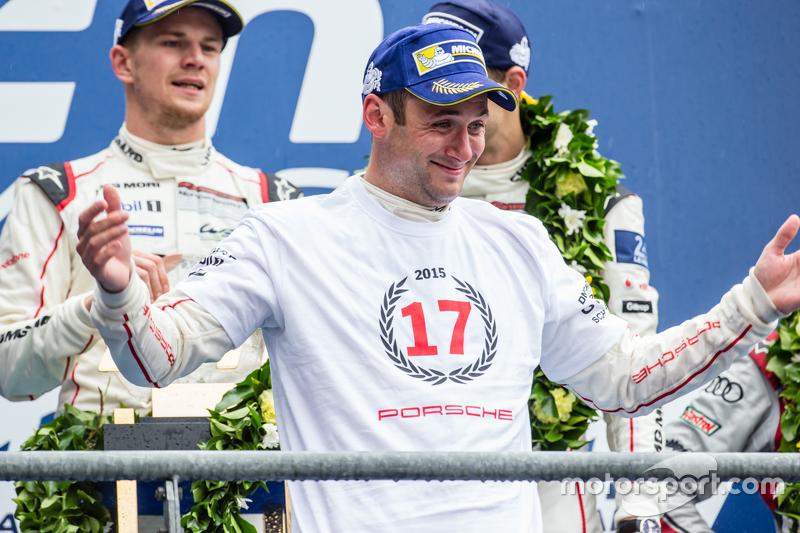 LMP1 podium: class and overall winners Porsche Team: Nico Hulkenberg, Nick Tandy, Earl Bamber celebr