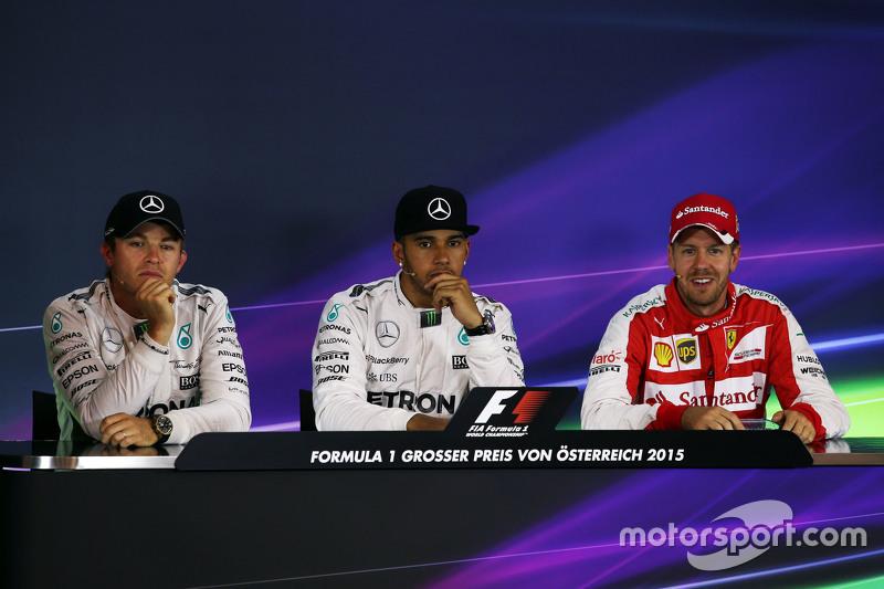 FIA Press Conference: Nico Rosberg and Lewis Hamilton, Mercedes AMG F1 and Sebastian Vettel, Ferrari