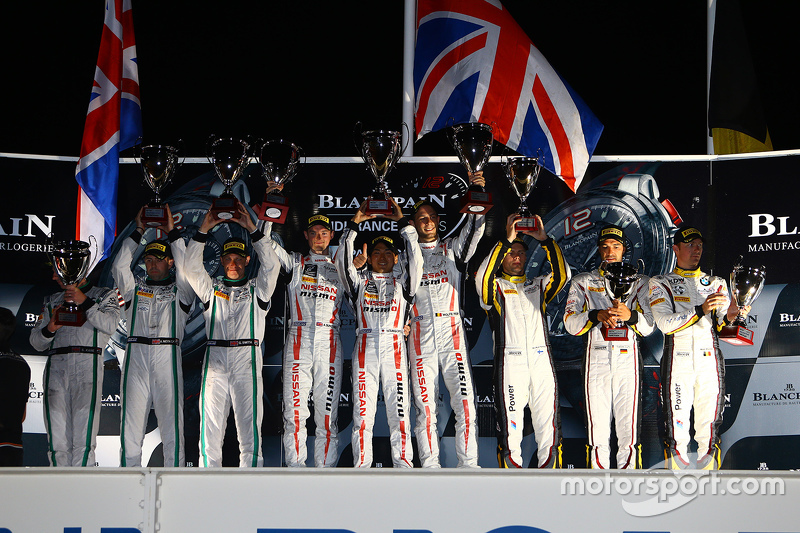Podium: race winners Katsumasa Chiyo, Wolfgang Reip, Alex Buncombe, second place Steven Kane, Guy Sm