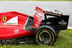 The damaged Ferrari SF15-T of race retiree Kimi Raikkonen, Ferrari