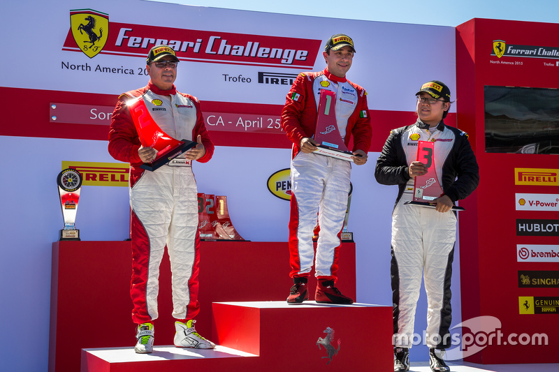 Podium: Race winner #1 Ferrari of Houston Ferrari 458: Ricardo Perez, second place #99 Ferrari of Vancouver Ferrari 458: Wei Lu, third place #77 Ferrari Quebec Ferrari 458: Emmanuel Anassis