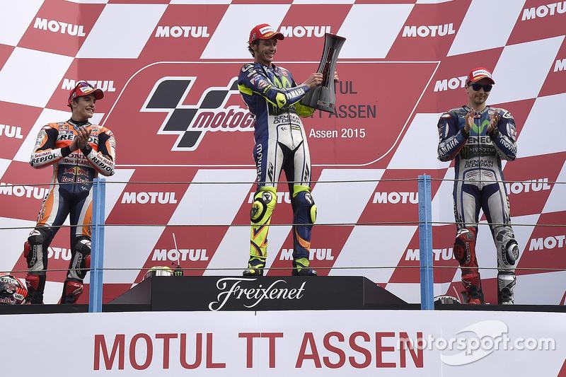 2015: 1. Valentino Rossi, 2. Marc Marquez, 3. Jorge Lorenzo