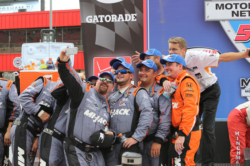 Rahal Letterman Lanigan crew guys take a selfie in victory lane