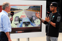 Martin Brundle, Sky Sports Commentator with Lewis Hamilton, Mercedes AMG F1