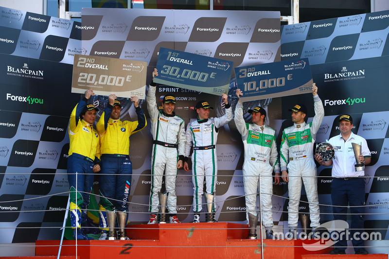 Podium: race winners Maximilian Buhk, Vincent Abril, second place Valdeno Brito, Atila Abreu, third