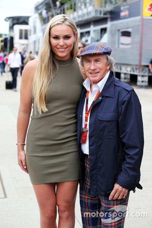 Skiester Lindsey Vonn met Jackie Stewart,