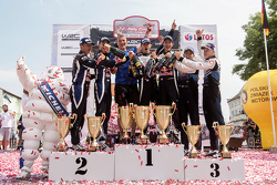 Podium: winners Sébastien Ogier and Julien Ingrassia, Volkswagen Polo WRC, Volkswagen Motorsport, second place Andreas Mikkelsen and Ola Floene, Volkswagen Polo WRC, Volkswagen Motorsport, third place Ott Tanak and Molder Raigo, M-Sport Ford Fiesta WRC