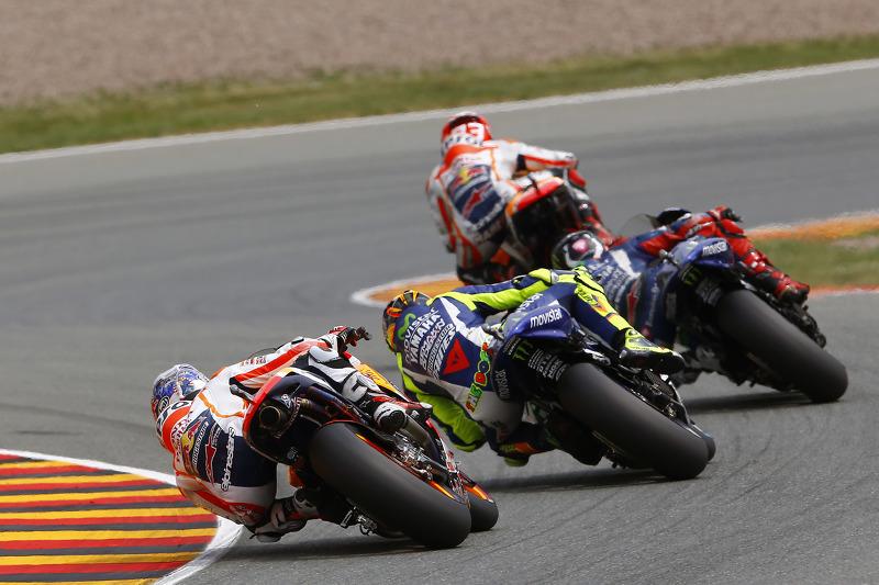 Marc Marquez, Repsol Honda Team, dan Jorge Lorenzo, dan Valentino Rossi, Yamaha Factory Racing, dan
