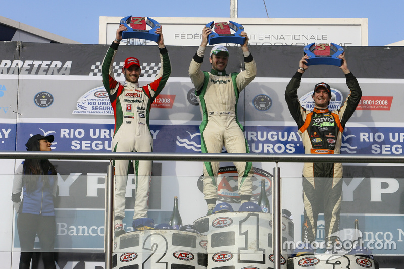 Podium Agustin Canapino, Jet Racing Chevrolet and Facundo Ardusso, Trotta Competicion Dodge and Juan Marcos Angelini, UR Racing Dodge (left to right)