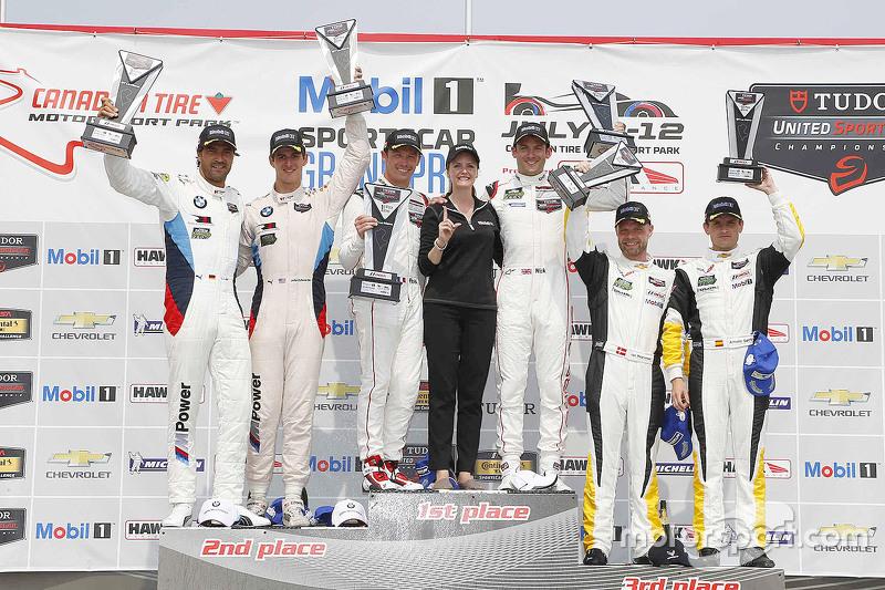 GTLM podium: winner Patrick Pilet, Nick Tandy, second place Lucas Luhr, John Edwards, third place Jan Magnussen, Antonio Garcia