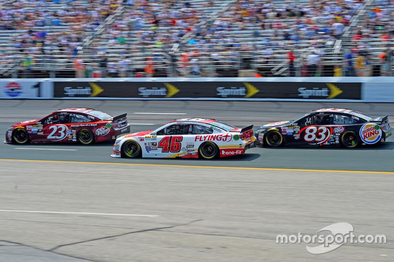 J.J. Yeley, BK Racing Toyota, Michael Annett, HScott Motorsports Chevrolet and Matt Dibenedetto, BK