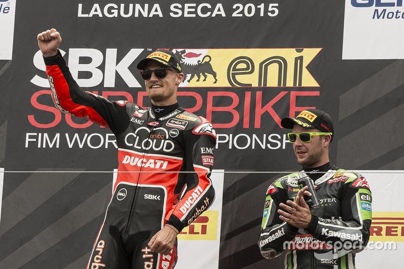 Podium: race winner Chaz Davies, Ducati Team, third place Jonathan Rea, Kawasaki Racing