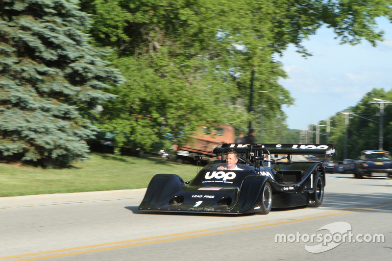 Race cars parade into Elkhart Lake for the concours 1974 Shadow DN4
