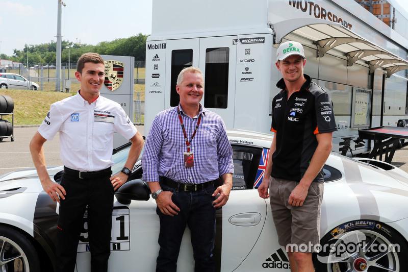 Connor De Phillippi, Porsche Junior Driver with Johnny Herbert, Sky Sports F1 Presenter and Nico Hul