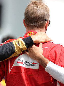 Drivers during the minute of silence for Jules Bianchi, Kimi Raikkonen, Scuderia Ferrari