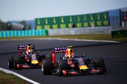Daniil Kvyat, Red Bull Racing RB11 leads team mate Daniel Ricciardo, Red Bull Racing RB11