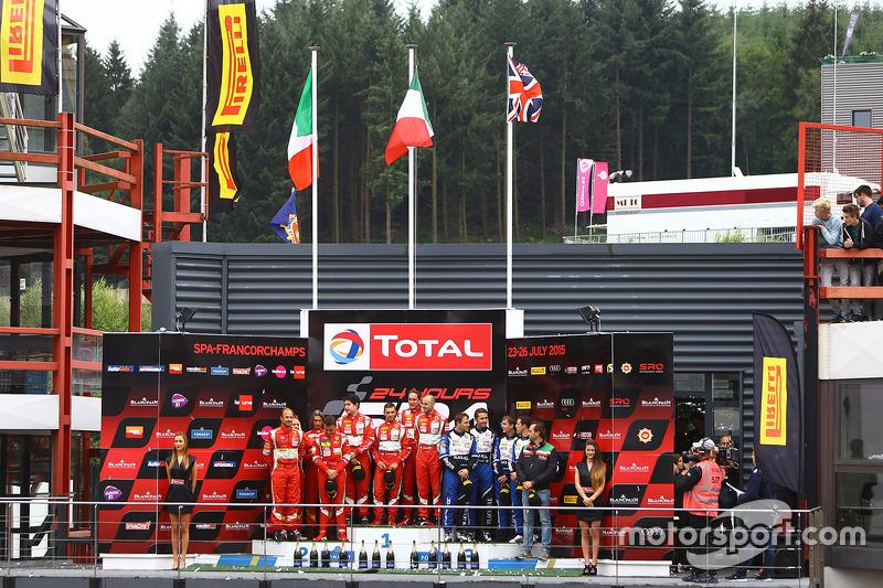 PRO-AM class podium: winners Stéphane Lemeret, Pasin Lathouras, Alessandro Pier Guidi, Gianmaria Bru