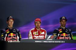 Пресс-конференция FIA после гонки: Даниил Квят, Red Bull Racing, второе место; Себастьян Феттель, Fe