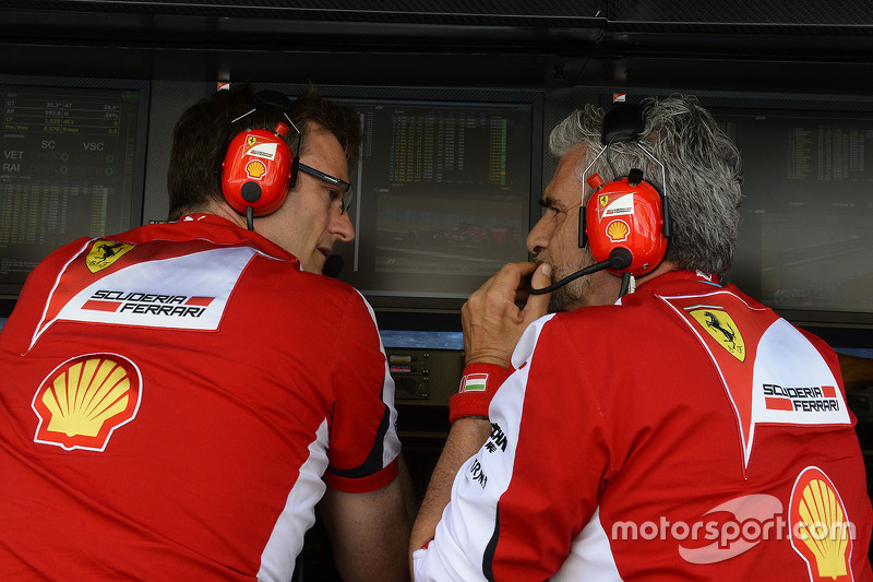 James Allison, Ferrari technical director, with Maurizio Arrivabene, Ferrari team principal