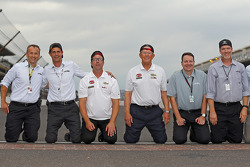 Chris Helein, Dave Alpern, J.D. Gibbs, Joe Gibbs, Todd Meredith, Byron Goggin, Joe Gibbs Racing celebrate at the yard of bricks