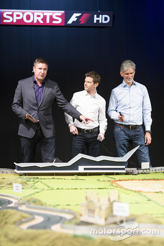 Martin Brundle's ultimate Scalextric circuit presented by Sky Sports commentators Anthony Davidson,