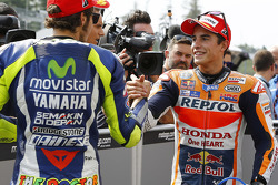 Second place qualifying for Marc Marquez, Repsol Honda Team and third place Valentino Rossi, Yamaha Factory Racing