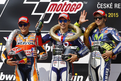 Winnaar Jorge Lorenzo, Yamaha Factory Racing, tweede Marc Marquez, Repsol Honda Team en derde Valent